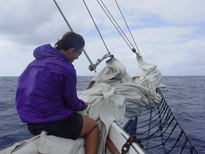Laura Wong-Rose on the bow of Spike Africa