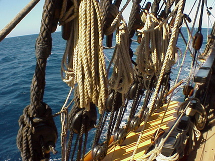 Line rope standing rigging running rigging hmb endeavour
